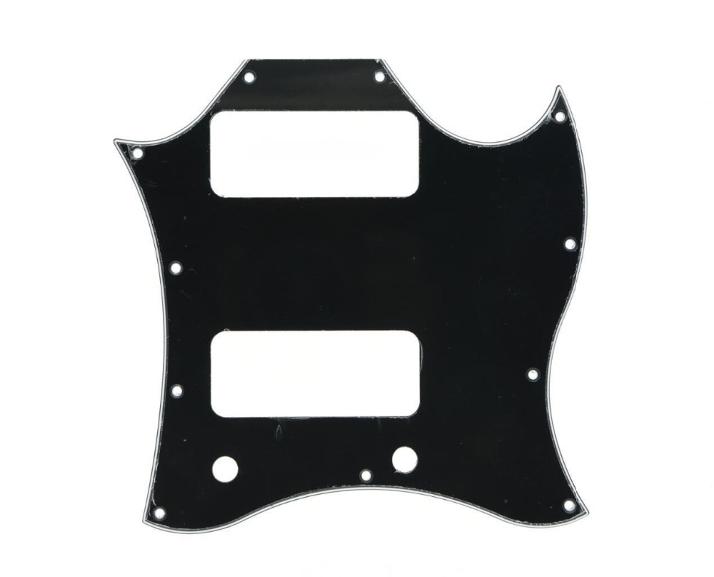 KAISH Standard SG SPECIAL Guitar Full Face Pickguard w/ P90 Pickup Hole Black 3 Ply standard sg special guitar full face pickguard w p90 pickup hole white pearl