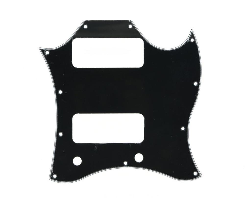 Standard SG SPECIAL Guitar Full Face Pickguard w/ P90 Pickup Hole Black 3 Ply sg standard full face guitar pickguard scratch plate zebra stripe with screws