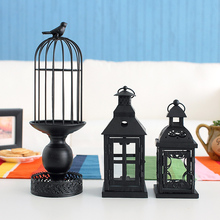 Wrought iron candlestick, Do old candlestick restoring ancient ways Hollow cage decorative furnishing articles
