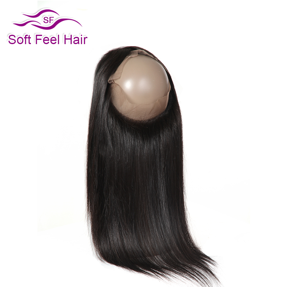 Mjukt Feel Hair Brazilian Straight Hair 360 Frontal Closure Pre Plucked Remy Mänskligt Hår 360 Snörning Frontal Closure With Baby Hair