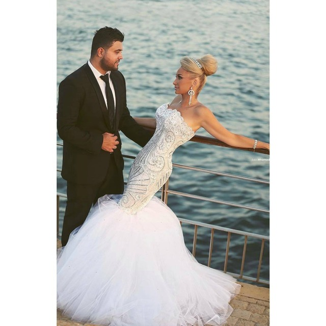 Said Mhamad Wedding Dresses Sexy Lace Mermaid Dress Beaded Appliques WhiteTulle Ruffles Beach Bridal Gowns