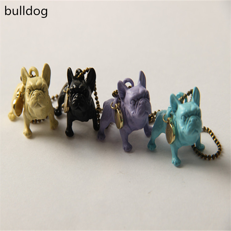 Customized design Puppy Animal Dog Metal jewelry neon colour bulldog keychain Women bag accessories The New Years gift