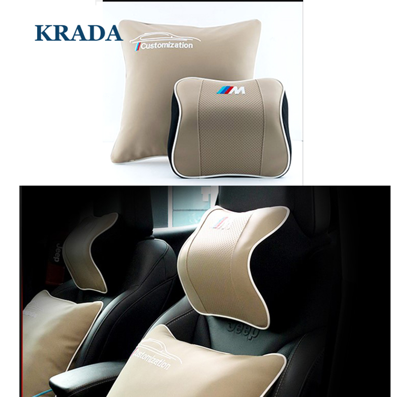 цена на Car Pillow Neck Car Styling Car Seat Fashion Leather for BMW M Emblem E46 F10 E90 F30 E60 F20 E39 X3 E36 X5 X1 E53 F30 E30 70