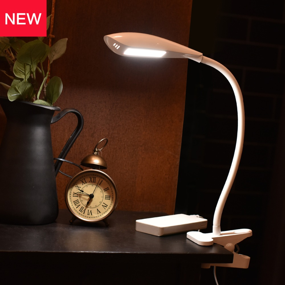 Flexible LED Desktop Lamp Clip on Reading Lamp Touch Control 3-level Dimmer Battery Powered Office Work Table Lamp with Clamp xgear 360 rotary desktop flexible neck clip holder for 3 5 6 3 cell phones white green 85cm