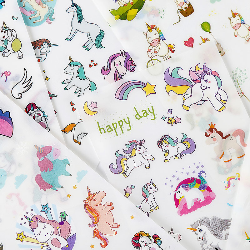 6Sheets/Pack Cute Unicorn Stickers Paper Adhesive Stickers Kawaii Cartoon Stickers For Kids Decoration Diary Scrapbooking Toys