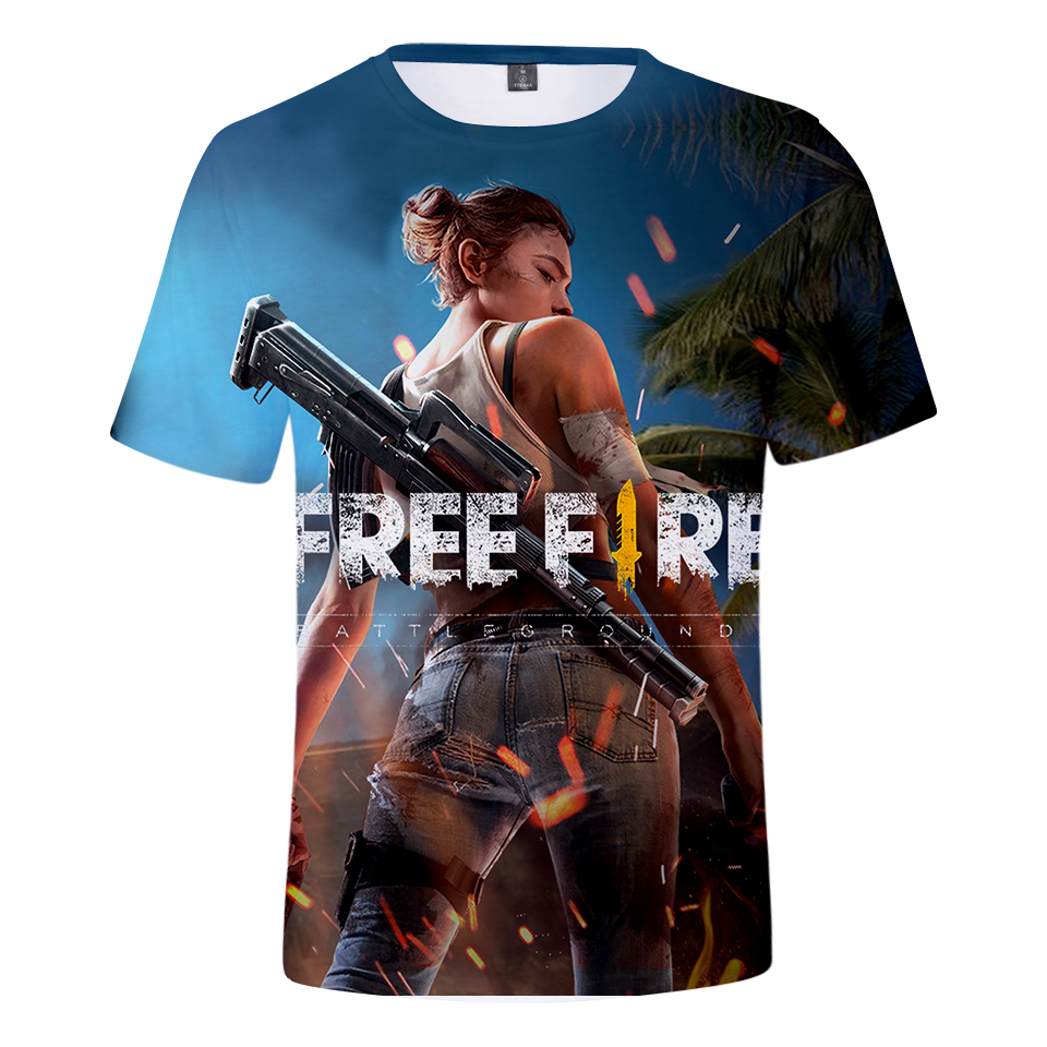 2018 jogo de tiro de fogo livre 3d camiseta masculina/feminina verão legal tshirt engraçado moda t masculino/feminino moda tshirts sexy impressão