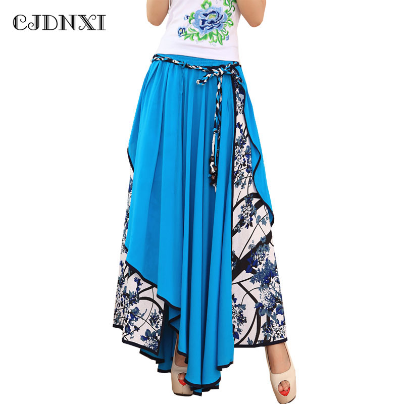 4b49973856 CJDNXI Women Summer Maxi Long Skirt High Waist Pleated Green Floral Print  Split Skirts Patchwork Jupe Longue Asymmetric Saia New-in Skirts from  Women's ...