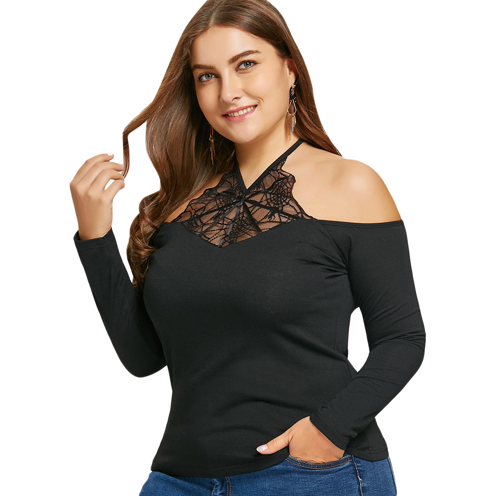 db8f1876a36 Gamiss New Fashion Gothic Black T Shirt Women Autumn Plus Size Spider Net  Lace Insert Halter Top Gothic Casual Tops Tees-in T-Shirts from Women s  Clothing ...