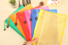 Free shipping 5 pcs/lot Zip Bag Plastic Document Pen Filing Products Pocket Folder Wallet Office School Tool 6 colors