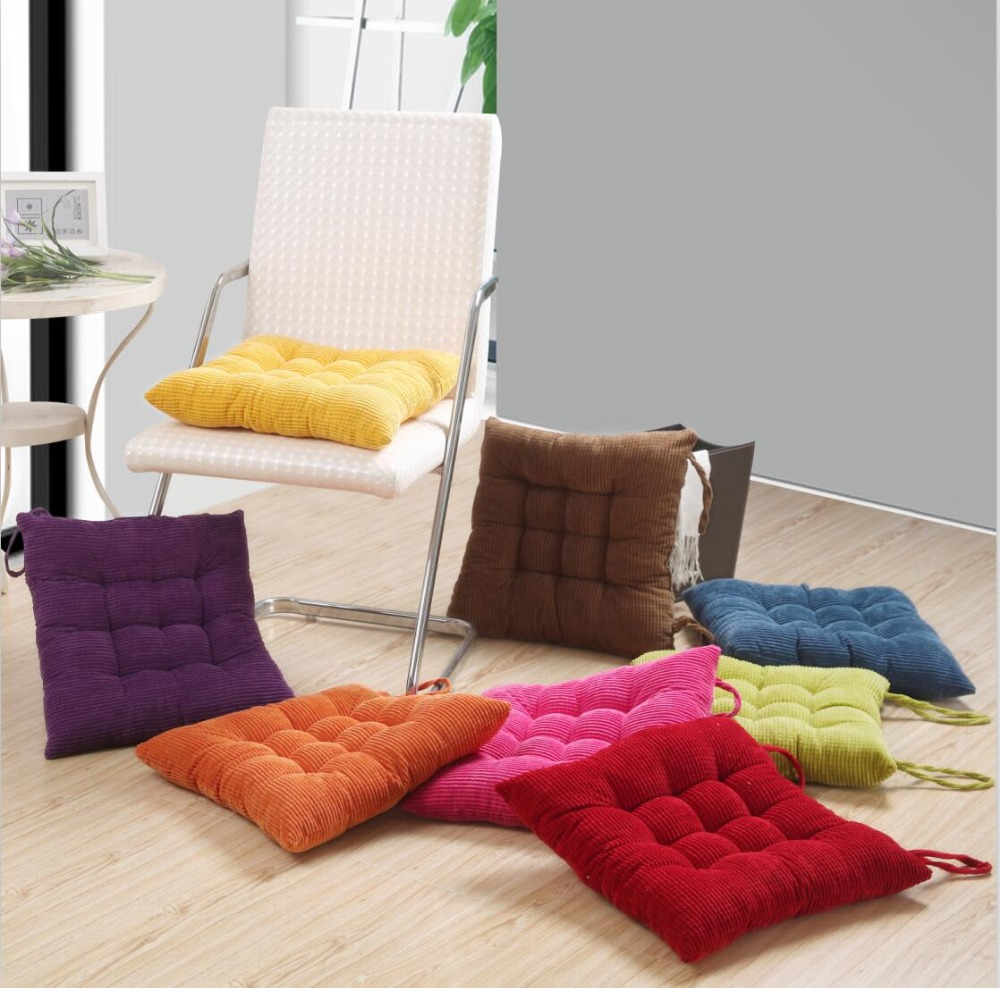 Thick Corduroy Elastic Chair Cushions For Kitchen Chair Solid Color Square Seat Cushion Machine