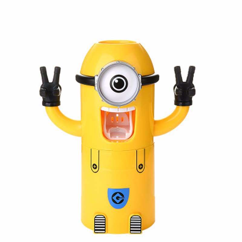 Automatic-toothbrush-holder-Plastic-minions-toothpaste-dispenser-Bathroom-Sets-sticker-toothpaste-squeezer-Bathroom-Products (2)