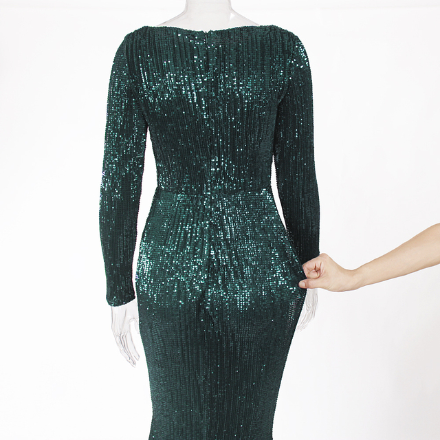 Green Sequined O Neck Evening Party Dress Maxi Dresses Elegant Sequin Floor Length Dress Gown 5
