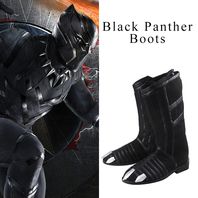 8364e0e3a85532 Black Panther Cosplay Boots Hot Movie Captain America Civil War Cosplay  Shoes Men High Boots Comic Accessories Black