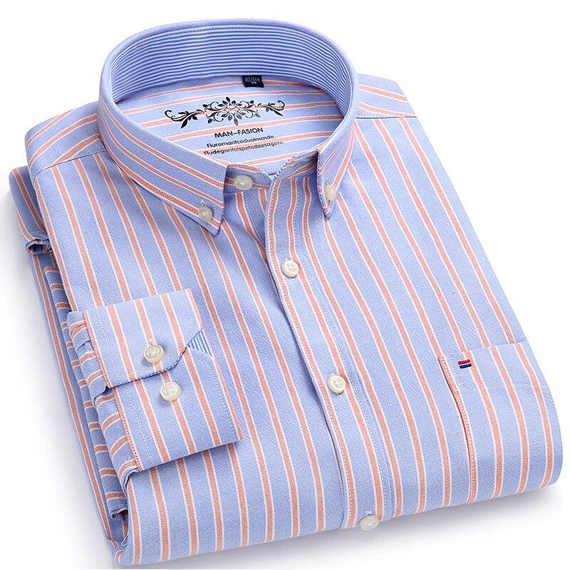 Camisa de vestir Oxford de manga larga a cuadros a rayas con un solo bolsillo de parche con la caja plisada -camisas ajustadas con botones