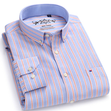 Men's Long Sleeve Plaid/Striped Oxford Dress Shirt Single Patch Pocket with Box-