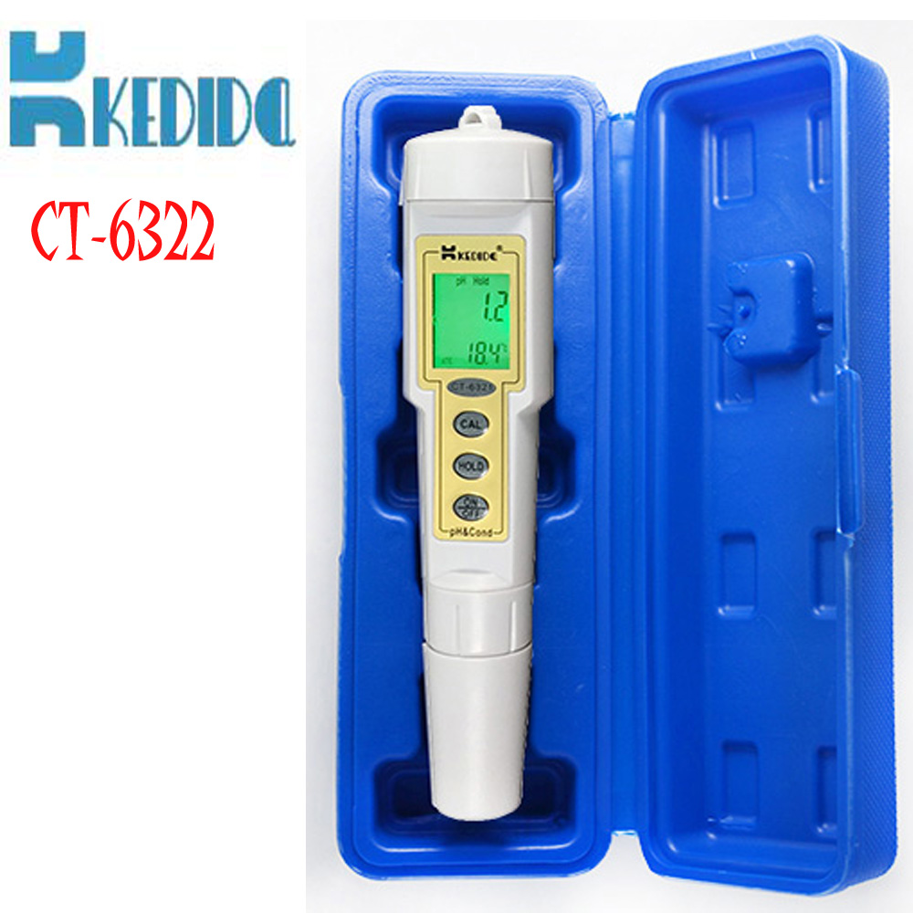 CT-6322 Pen Meter pH & conductivity meter LCD display with pH and temp 0 to 14.0 pH/0 to 1999 uS/cm