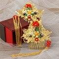 2 unids/lote chino oriental novia peine del pelo del pelo de la boda accesorios cabeza Roja China Chino traje joyería del pelo peine