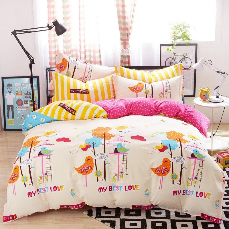 Beauté Cartoon oiseaux housse de couette ensembles pour lit simple Double enfants adultes 6 tailles 100% coton ensembles de literie XF641-25