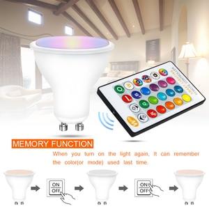 Image 3 - Dimmable RGB 220V LED Bulb 110V GU10 8W Lampada Led Lamp RGB Spotlight GU 10 Bombillas Led Light With Remote Control 16 Colors