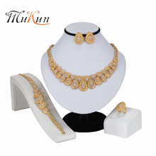 MUKUN 2019Luxury African Jewelry Sets Womens Gold Wedding Geometric Crystal Necklace Ring Nigeria Ethiopia Bridal Party