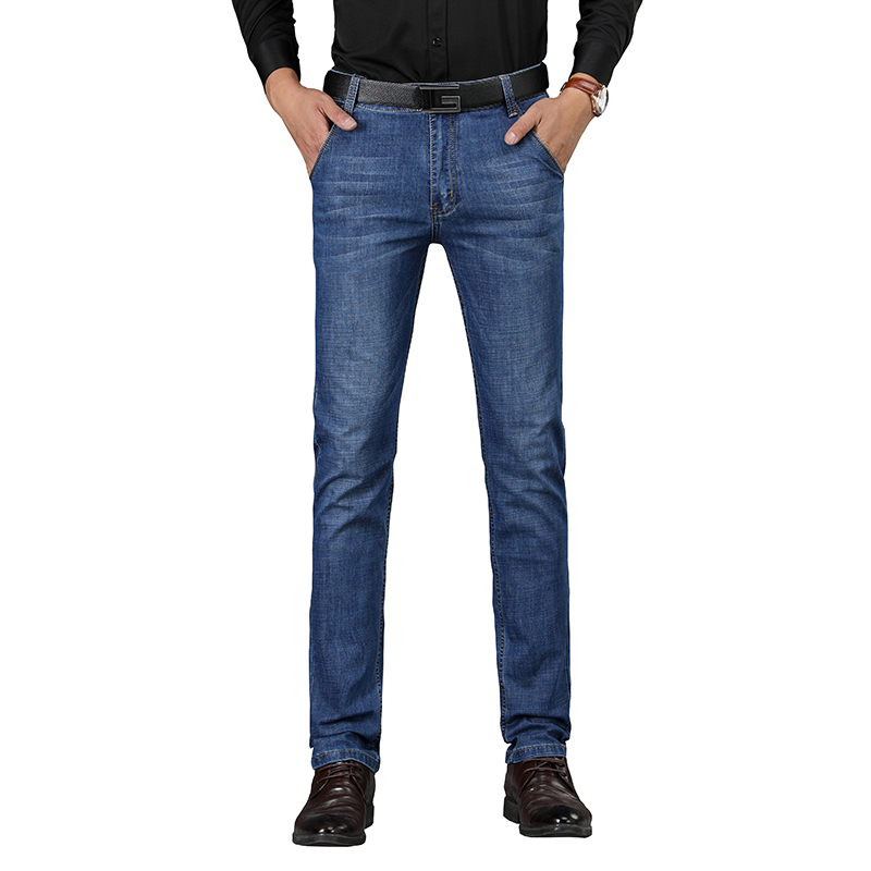 sulee Brand 2018 New Mens Casual Jeans Bluecotton Stretch Denim Composite Fabric Narrow Feet Wholesale Brand Jeans