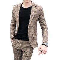 British style suit two piece suit (coat + pants) men blazer / 2019 new men suits high quality plaid printed slim suit 2 sets