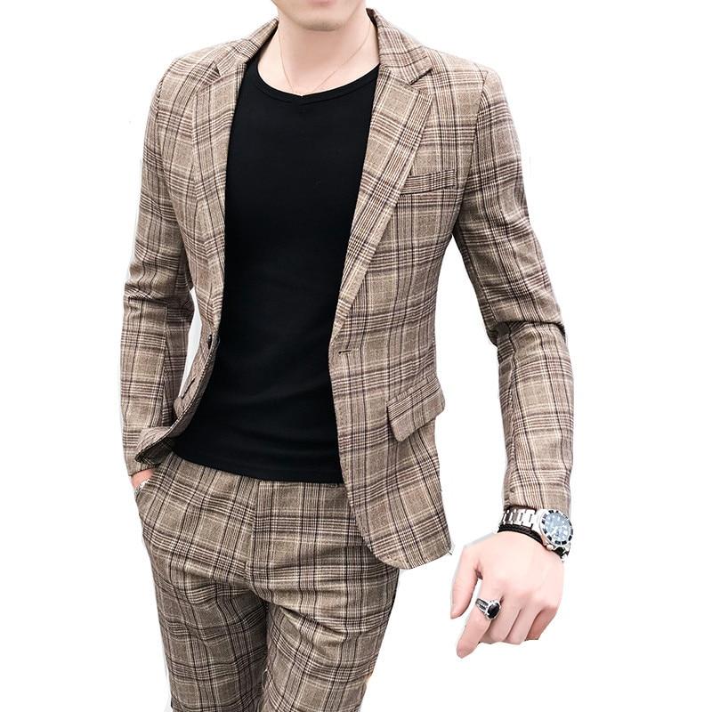 British Style Suit Two-piece Suit (coat + Pants) Men Blazer / 2019 New Men Suits High Quality Plaid Printed Slim Suit 2 Sets