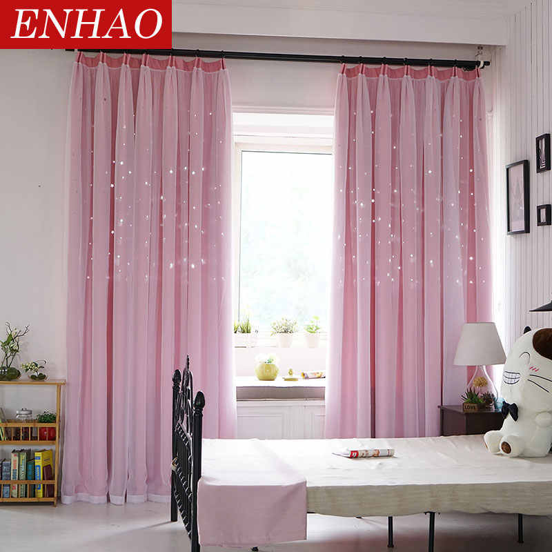 ENHAO מוצק אירופה Blackout וילונות לסלון חלול מודפס וילונות עבור שינה חלון תריסי וילונות שכבה כפולה