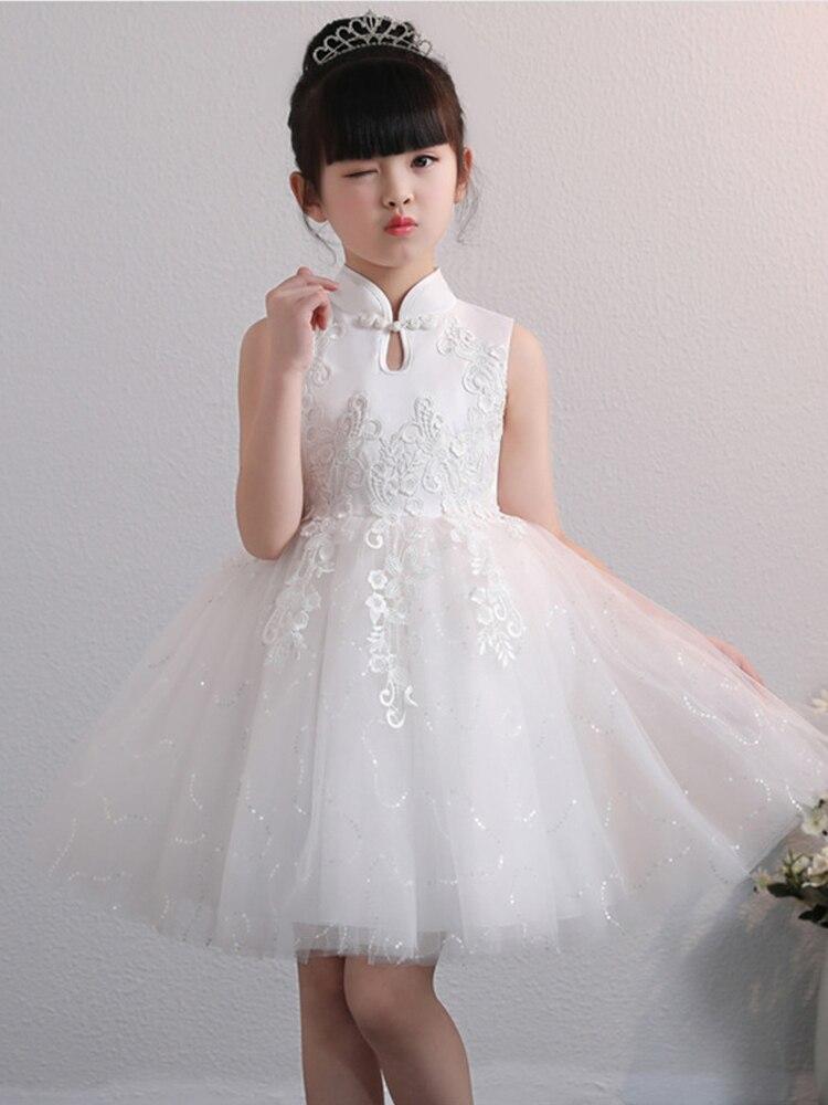 vestido de baile gola chinesa bordado tule