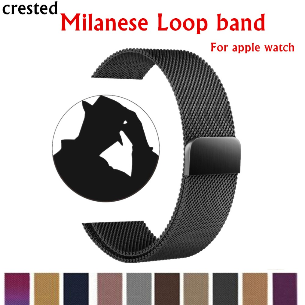 CRESTED Milanese Loop For Apple Watch band 42mm/38mm iwatch 3 2 1 Link Bracelet Stainless Steel Bracelet wrist watch band strap