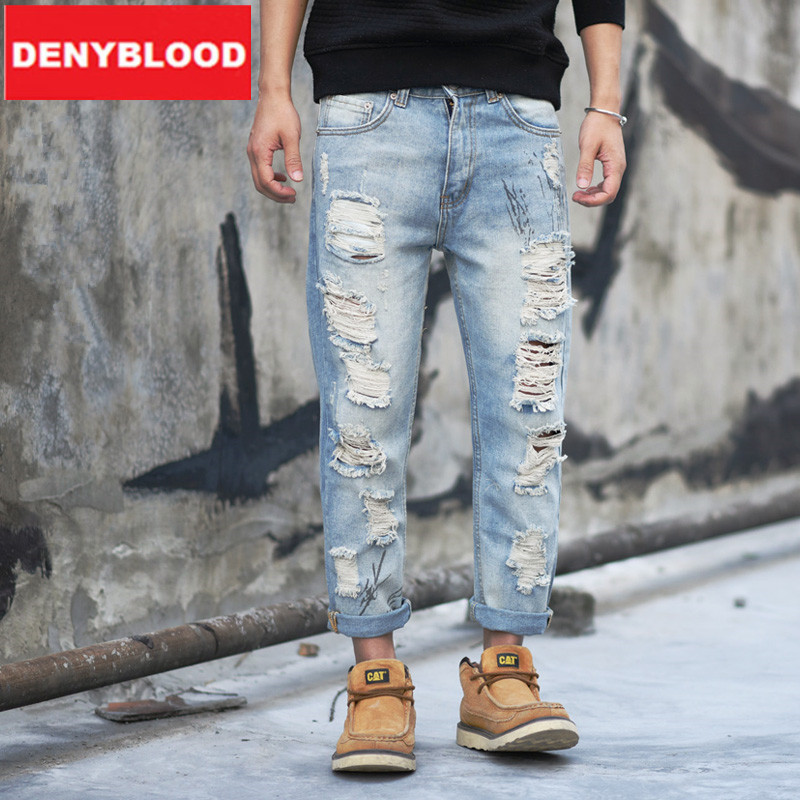 Aliexpress.com : Buy 2016 Mens Distressed Jeans Ripped Loose Pants ...