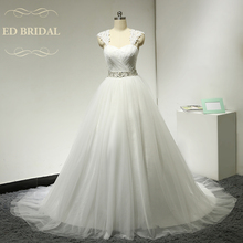 A Line Lace Cap Sleeves Tulle Wedding Dress with Beaded Belt Corset Back China Bridal Wedding Gowns robe de mariage