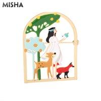 MISHA новая Брошь для женщин принцесса с животным дизайном эмалированная глазурь брошь ювелирное изделие Милая эмалированная булавка для сва...