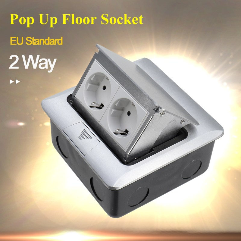 EU Standard Aluminum Silver Panel 2 Way Pop Up Floor Socket Electrical Outlet Available Sockets new manufacturer all aluminum panel uk standard pop up floor socket single power outlet rj45 audio 10 pcs set