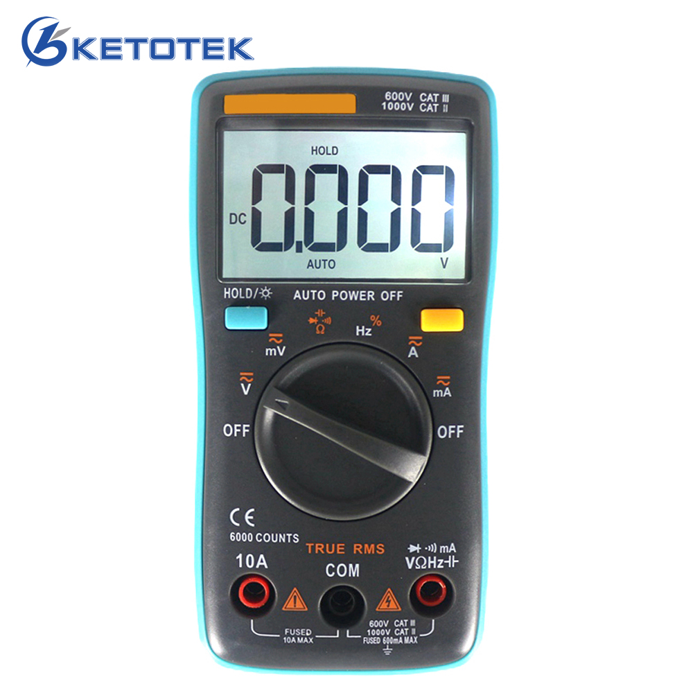 Digital Multimeter LCD Backlight Auto Range AC DC Voltage Current Meter Resistance Tester Capacitance Monitor Diode Test