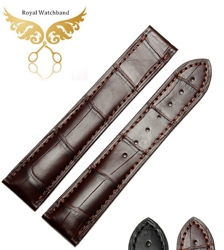 20mm Top Grade Brown Handmade Coffee Genuine Alligator Leather Watch Strap Band Free Shipping 23mm handmade bule new high qaulity genuine alligator leather watch strap band for brand