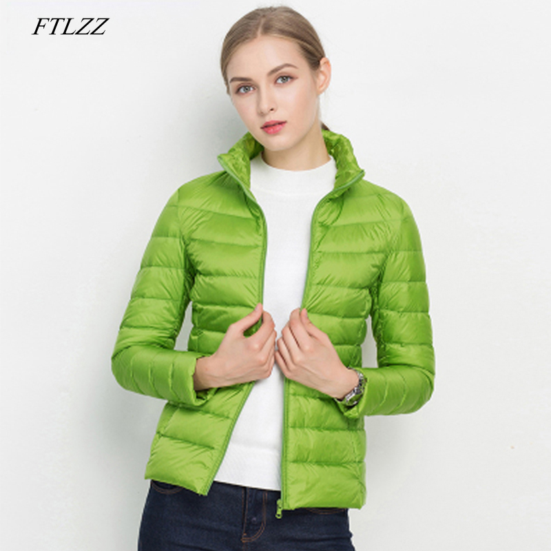 FTLZZ New Women 90% Ultra Light White Duck Down Short Jacket Spring Winter Jackets Puffer Jacket Portable Windproof Down Coat