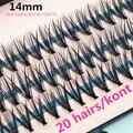 O Envio gratuito de 57 knots 20 cabelos/kont Preto 8/10/12/14mm Extensão Dos Cílios VISON Pestana Artificial Falso Falso Eye Lash Cílios