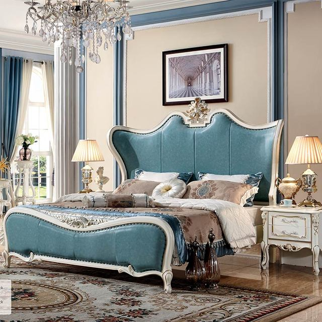 Light Luxury Special Green Color Royal Wooden Bed Designs Vip Bedroom Furniture
