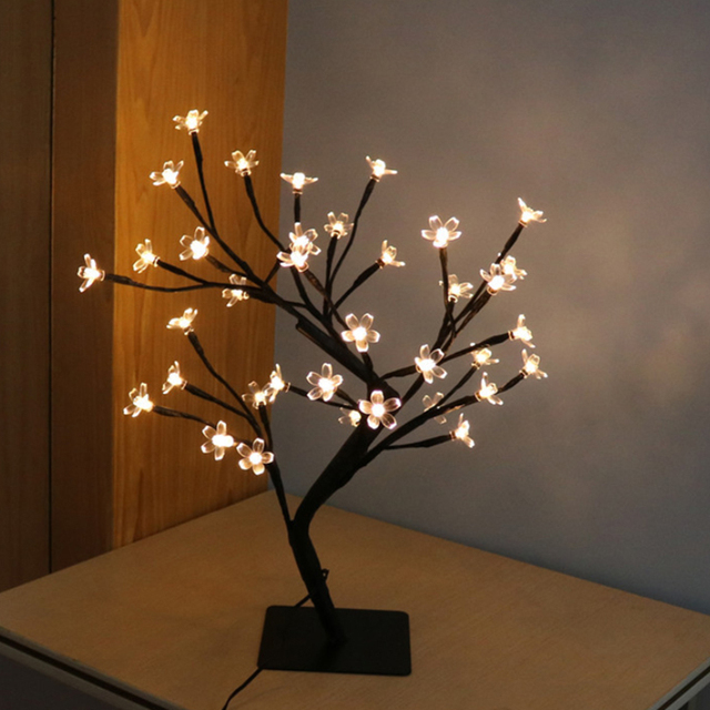 LEDGLE Cherry Blossom Desk Lamp Creative LED Lamp Battery Powered Cherry  Lamp IP20 Waterproof 36 LED