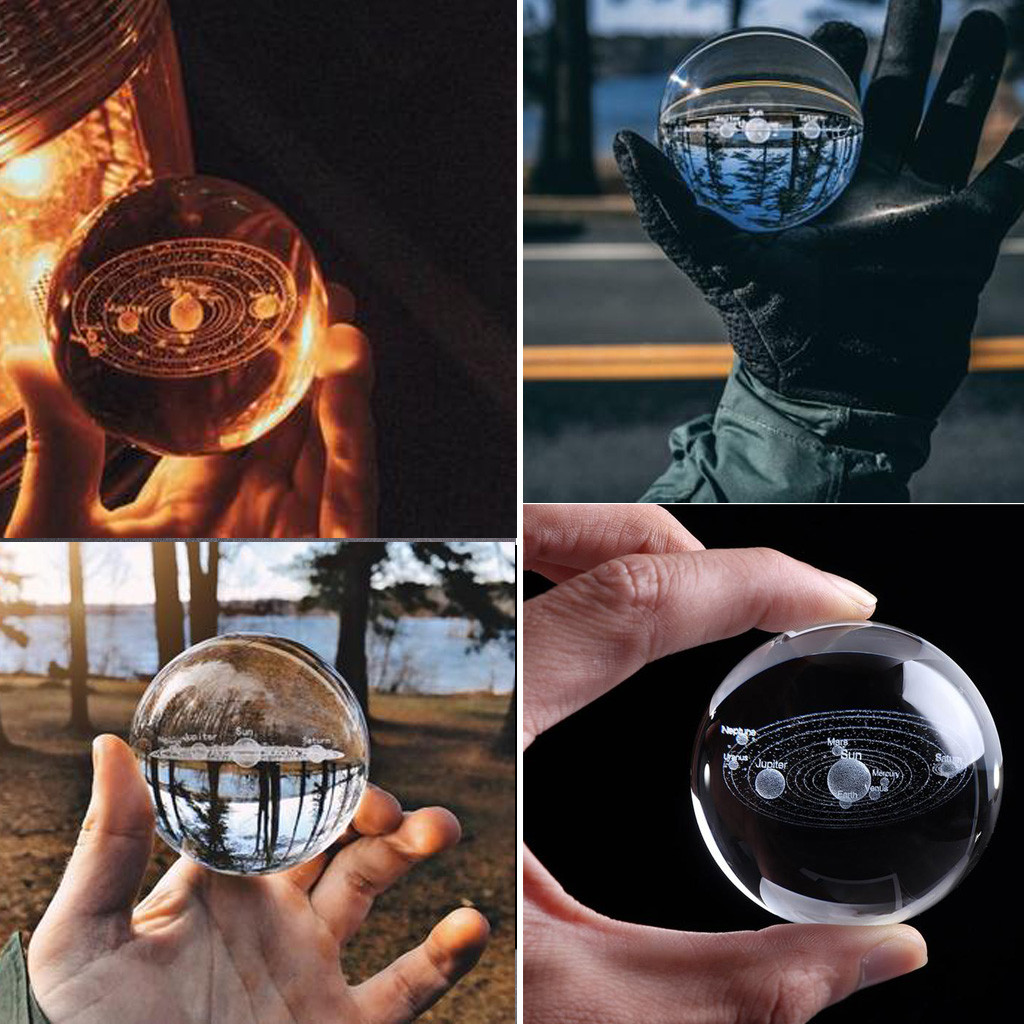 3D Solar System Crystal Ball Planets Glass Ball Engraved Solar System MiniatureModel Home Decoration Accessories
