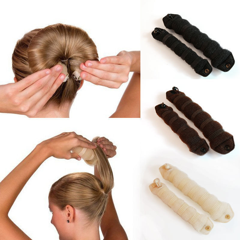 LNRRABC 2 piece Women's Magic Foam Sponge Hair Stylin Hairdisk Accessories Hair Device Donut Quick Messy Bun Updo Jewelry