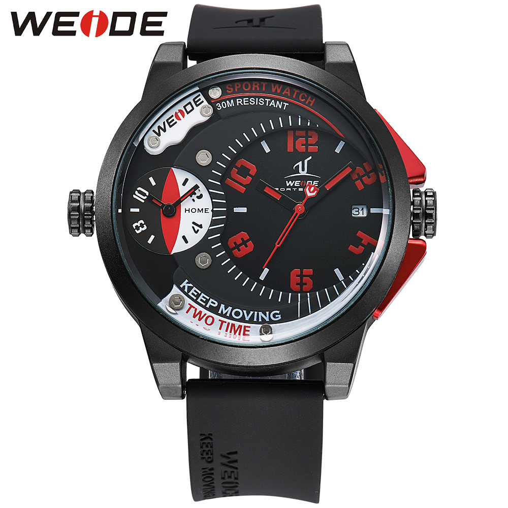 WEIDE Luxury Brand Men Sports Watches Black Red Men's Quartz Fashion Casual Silicone Strap Army Military Male Relogio UV1501