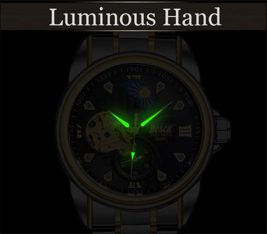 Zegarek Meski Men Watches Fashion BOSCK Automatic Mechanical Watch Waterproof Sports Watch Horloges Mannen Relojes Montre Homme 5