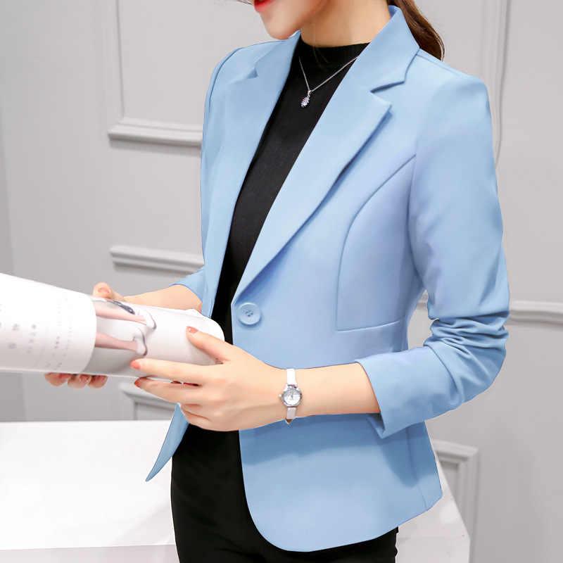 Czarne kobiety Blazer 2019 formalne marynarki pani praca w biurze garnitur kieszenie kurtki płaszcz slim, czarny kobiety Blazer Femme kurtki