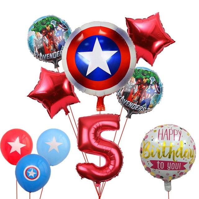 10 pcs 18 Polegada Rodada Super Herói Hulk Os Vingadores Balões Folha Balão de Hélio 32 Polegada Número Definido Brinquedos Do Miúdo festa de aniversário Decoração
