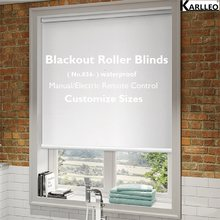 High Quality Motorize 100% Blackout Window Waterproof Roller Blinds Curtain No.837 Customize Size or Remote Control(China)