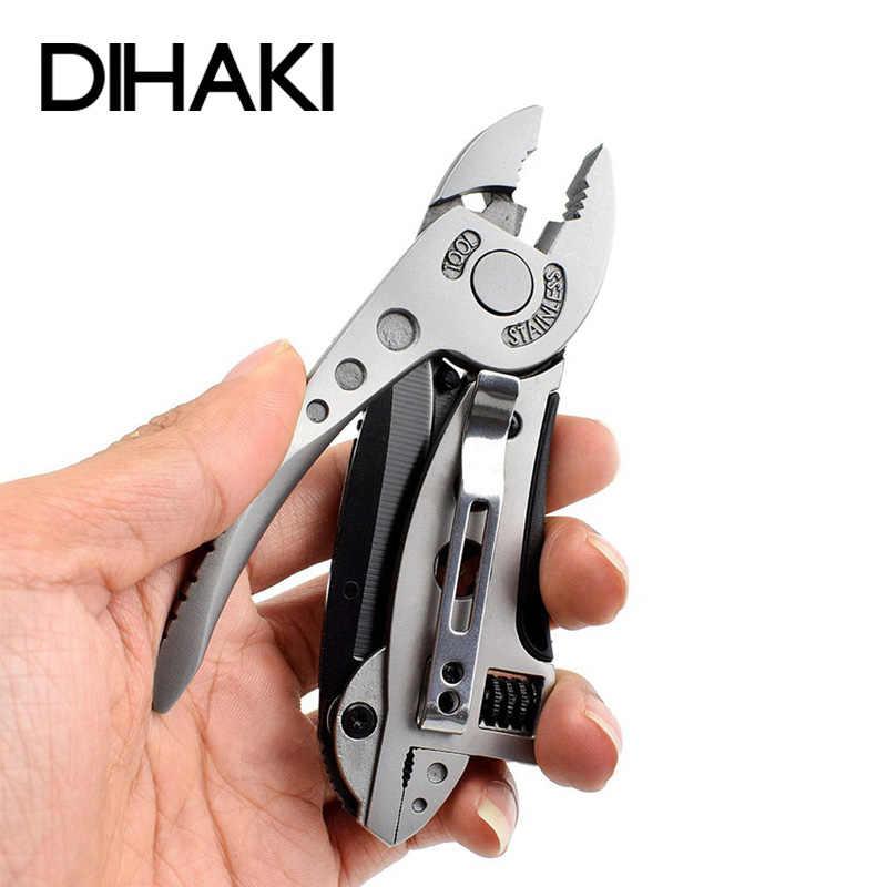 Acier inoxydable multi-outils pince couteau de poche tournevis Kit clé à molette mâchoire clé réparation en plein air survie main outil ensemble