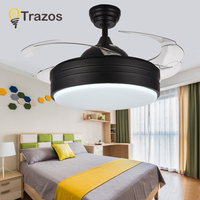 TRAZOS Modern LED Ceiling Fans With Lights Bedroom Home Black Ceiling Light Fan Lamp 220 Volt Fan Ceiling Ventilador De Teto
