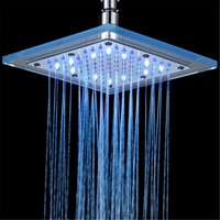 Square Acrylic 3 Color Changing LED Shower Head Temperature Sensor Top Sprayer Home Bathroom Accessories